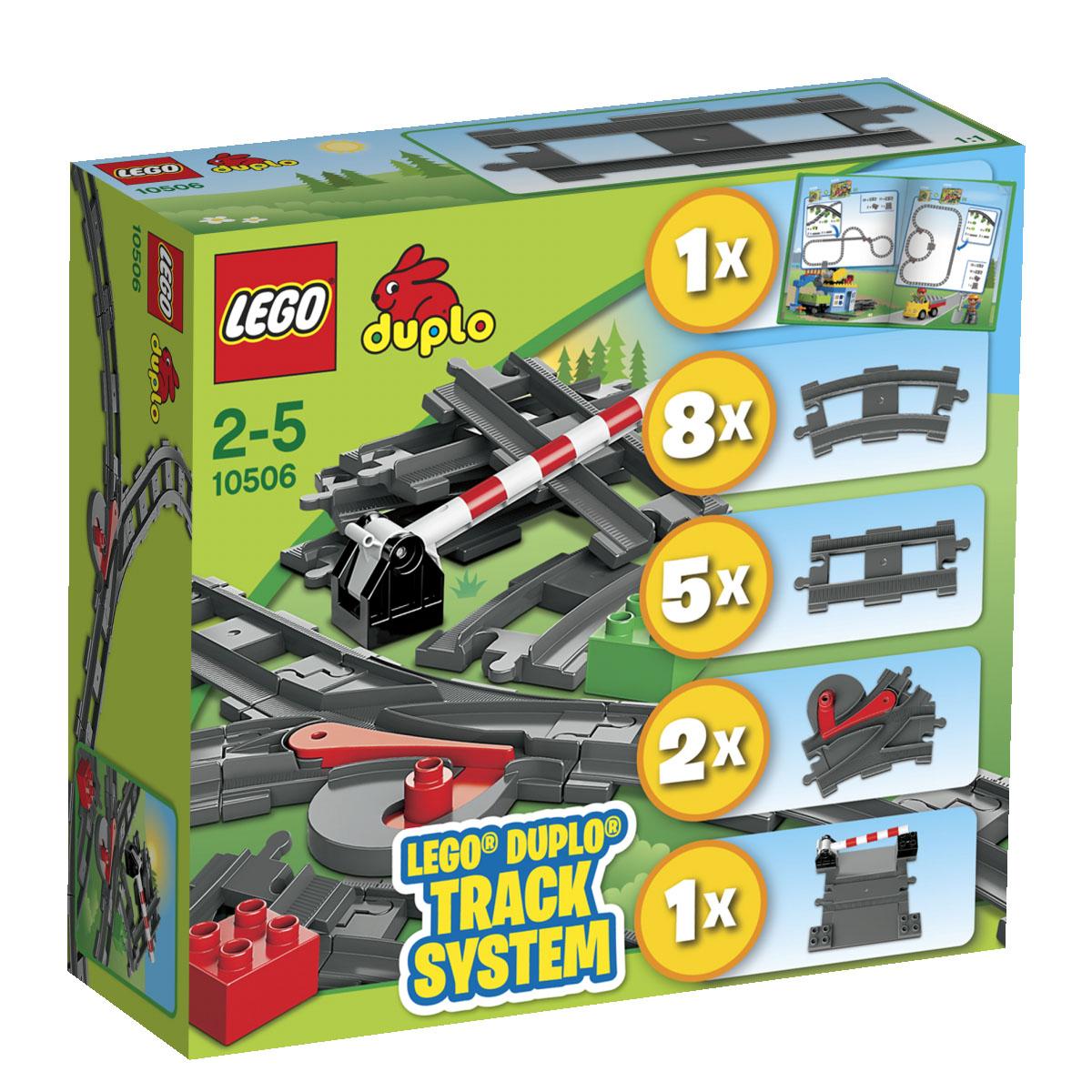 LEGO DUPLO Конструктор Дополнительные элементы для поезда 1050610506Совершите со своим ребенком путешествие на поезде, отправившись в мир безграничных возможностей творчества и игры с дополнительными элементами для поезда LEGO DUPLO! Набор содержит 24 элемента: восемь изогнутых рельсов, два набора стрелок и переезд для создания множества комбинаций путей. Благодаря разнообразным основным и декорированным кубикам DUPLO этот набор дополнительных элементов для поезда является прекрасным дополнением к любой коллекции поездов DUPLO. Конструктор - это один из самых увлекательнейших и веселых способов времяпрепровождения. Ребенок сможет часами играть с конструктором, придумывая различные ситуации и истории.