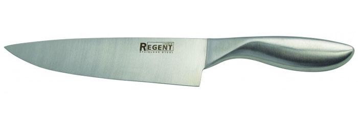 Нож поварской Regent Inox Luna, длина лезвия 20,5 см93-HA-1Поварской нож Regent Inox Luna изготовлен из высококачественной нержавеющей стали. Острое прочное лезвие ножа имеет ровную поверхность и выверенный угол заточки. Специальная закалка металла обеспечивает повышенную прочность. Сбалансированность ножа обеспечивает приложение минимальных усилий при резке. Лезвие ножа не впитывает запахи и не оставляет запаха на продуктах. Оригинальная и практичная ручка выполнена из первоклассной нержавеющей стали. Нож с тяжелой ручкой, толстым, широким и длинным лезвием с центральным острием. Все это позволяет легко рубить капусту, овощи, зелень, резать замороженное мясо, рыбу и птицу. Такой нож займет достойное место среди аксессуаров на вашей кухне. Нож можно прикреплять к настенному магнитному держателю.