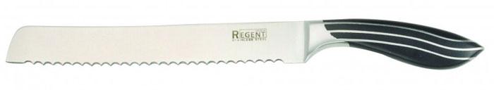 Нож хлебный Regent Inox Line, длина лезвия 20 см93-KN-LI-2Хлебный нож Regent Inox Line изготовлен из высококачественной нержавеющей стали. Острое лезвие ножа имеет ровную поверхность и выверенный угол заточки. Специальная закалка металла повышает прочность изделия. Сбалансированность ножа обеспечивает приложение минимальных усилий при резке. Лезвие ножа не впитывает запахи и не оставляет запаха на продуктах. Длинное зубчатое лезвие позволяет легко резать, а не мять хлеб и другие продукты с твердой коркой и мягкой серединой (в том числе и ананас). Такой нож займет достойное место среди аксессуаров на вашей кухне.