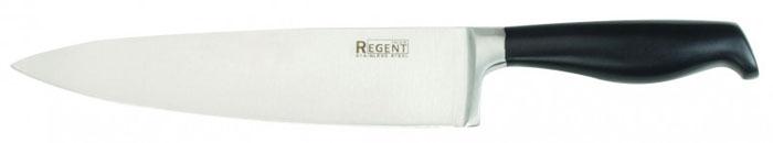 Нож поварской Regent Inox Onda, длина лезвия 20 см93-KN-ON-1Поварской нож Regent Inox Onda изготовлен из высококачественной нержавеющей стали. Острое прочное кованое лезвие ножа имеет ровную поверхность и выверенный угол заточки. Специальная закалка металла обеспечивает повышенную прочность. Сбалансированность ножа обеспечивает приложение минимальных усилий при резке. Лезвие ножа не впитывает запахи и не оставляет запаха на продуктах. Оригинальная и практичная ручка выполнена из пластика черного цвета. Нож с тяжелой ручкой, толстым, широким и длинным лезвием с центральным острием. Все это позволяет легко рубить капусту, овощи, зелень, резать замороженное мясо, рыбу и птицу. Такой нож займет достойное место среди аксессуаров на вашей кухне.