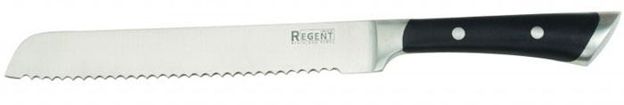 Нож хлебный Regent Inox Rapido, длина лезвия 20,5 см93-KN-RA-2Хлебный нож Regent Inox Rapido изготовлен из высококачественной нержавеющей стали. Острое лезвие ножа имеет ровную поверхность и выверенный угол заточки. Специальная закалка металла повышает прочность изделия. Сбалансированность ножа обеспечивает приложение минимальных усилий при резке. Лезвие ножа не впитывает запахи и не оставляет запаха на продуктах. Длинное зубчатое лезвие позволяет легко резать, а не мять хлеб и другие продукты с твердой коркой и мягкой серединой (в том числе и ананас). Такой нож займет достойное место среди аксессуаров на вашей кухне.