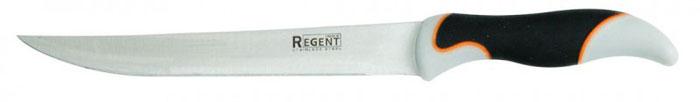 Нож разделочный Regent Inox Torre, длина лезвия 20 см93-KN-TO-3Разделочный нож Regent Inox Torre изготовлен из высококачественной нержавеющей стали. Острое лезвие ножа имеет ровную поверхность и выверенный угол заточки. Специальная закалка металла повышает прочность изделия. Сбалансированность ножа обеспечивает приложение минимальных усилий при резке. Лезвие ножа не впитывает запахи и не оставляет запаха на продуктах. Оригинальная и практичная ручка выполнена из бакелита c прорезиненной поверхностью. Нож с длинным, средним по ширине клинком применяется для разделки крупных и средних овощей, нарезки больших кусков мяса, курицы, крупной рыбы. Такой нож займет достойное место среди аксессуаров на вашей кухне.
