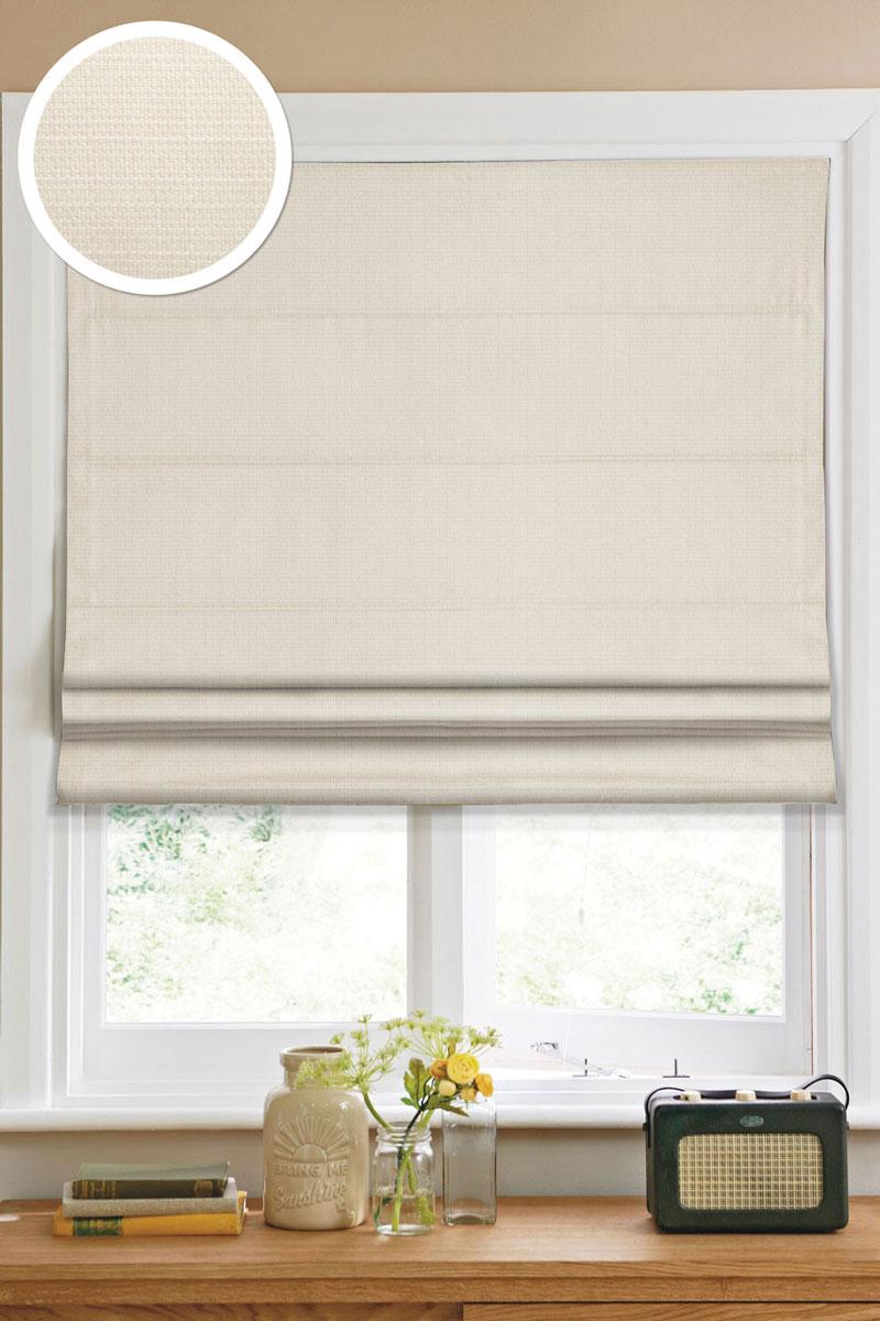 Римская штора Эскар 60х160 см, цвет: кремовый1109060Римская штора Эскар, выполненная из высокопрочной ткани кремового цвета, является отличным заменителем обычных портьер. Ее можно установить там, где невозможно повесить обычные шторы. Конструкция шторы позволяет ее разместить даже на самых маленьких оконных проемах, а специальная пропитка ткани сделает данный вид декора окна эстетичным долгое время. Римская штора представляет собой полотно, по ширине которого параллельно друг другу вшиты пластиковые или деревянные рейки. На концах этих планок закреплены кольца, сквозь которые пропущен шнур. С его помощью осуществляется управление шторой. При движении шнура вниз происходит складывание полотна и его поднятие в верхнюю часть оконного проема. При закрывании шнур поднимается, а складки, образованные тканью, расправляются и опускаются на окно. Такая штора станет прекрасным элементом декора окна и гармонично впишется в интерьер любого помещения. Комплект для монтажа прилагается.