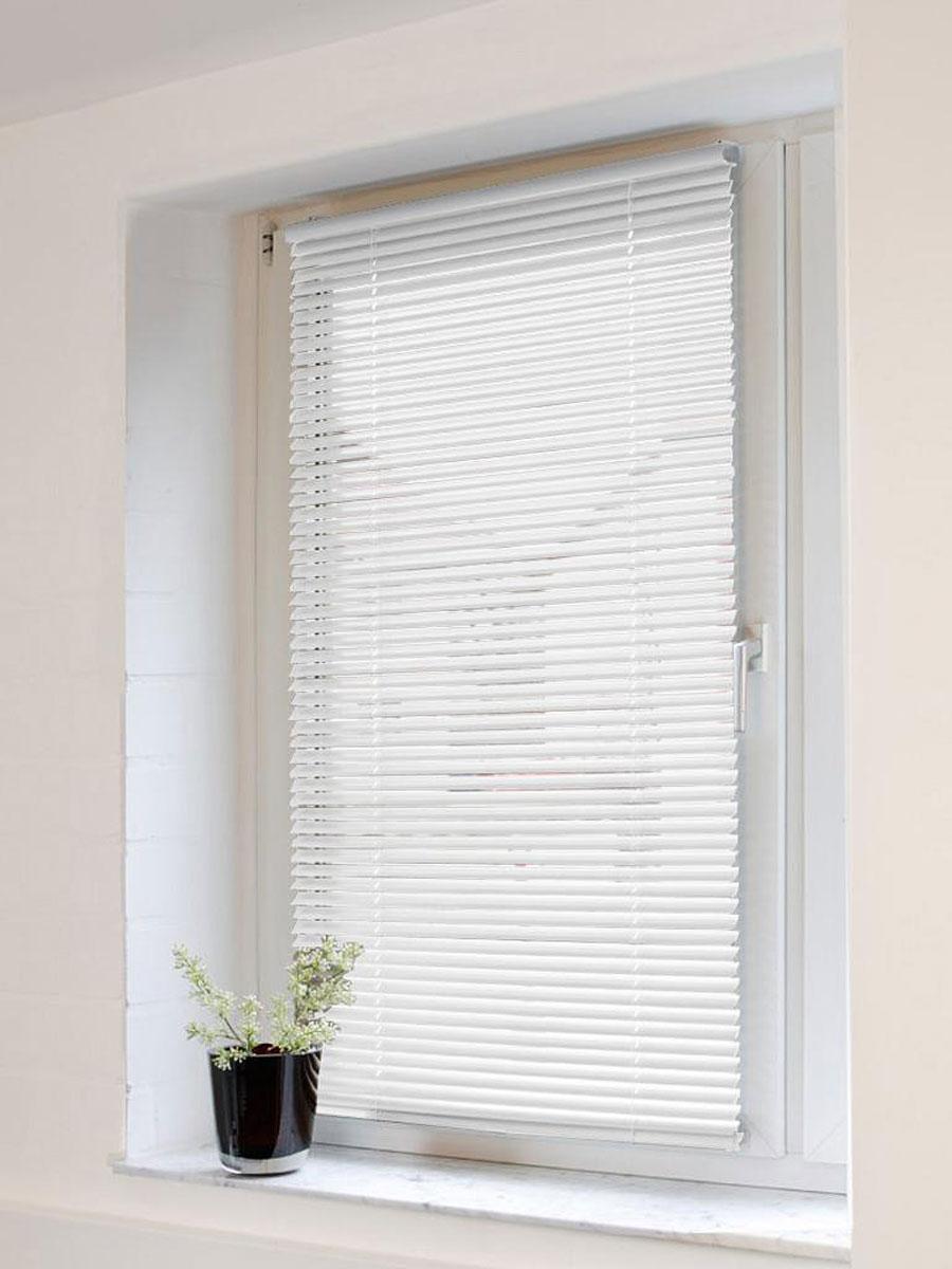 Жалюзи Эскар 120х160 см, горизонтальные, алюминиевые, цвет: белый