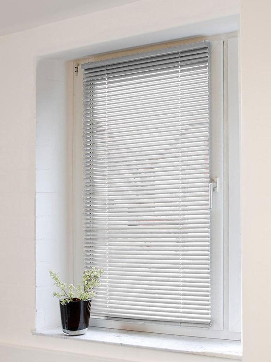 Жалюзи Эскар 60х160 см, горизонтальные, алюминиевые, цвет: серебристый