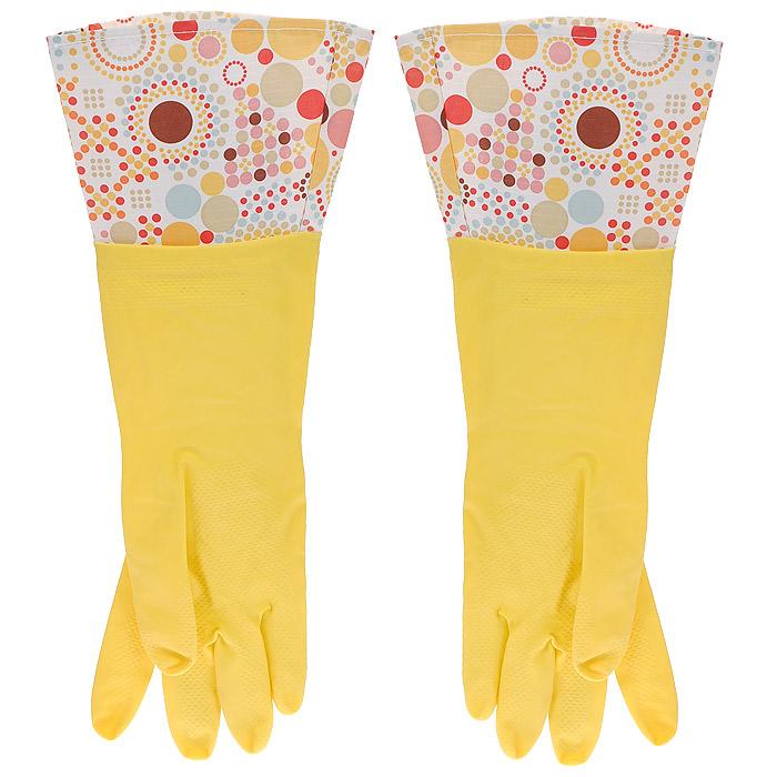 Перчатки латексные, с манжетой из полиэстера и внутренним хлопковым напылением. Размер М. 2948129481Хозяйственные перчатки, выполненные из латекса, идеально подойдут для всех видов хозяйственных работ. Они бережно и надежно предохранят нежную кожу рук от агрессивной внешней среды, такой, как жесткая водопроводная вода и моющие средства. Высокие манжеты защищают рукава от грязи и влаги. Не дают воде попадать во внутрь.