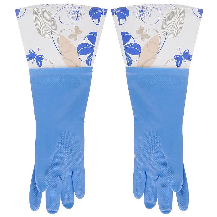 Феникс-Презент Перчатки латексные, с манжетой из ПВХ и внутренним хлопковым напылением. Размер М. 29486