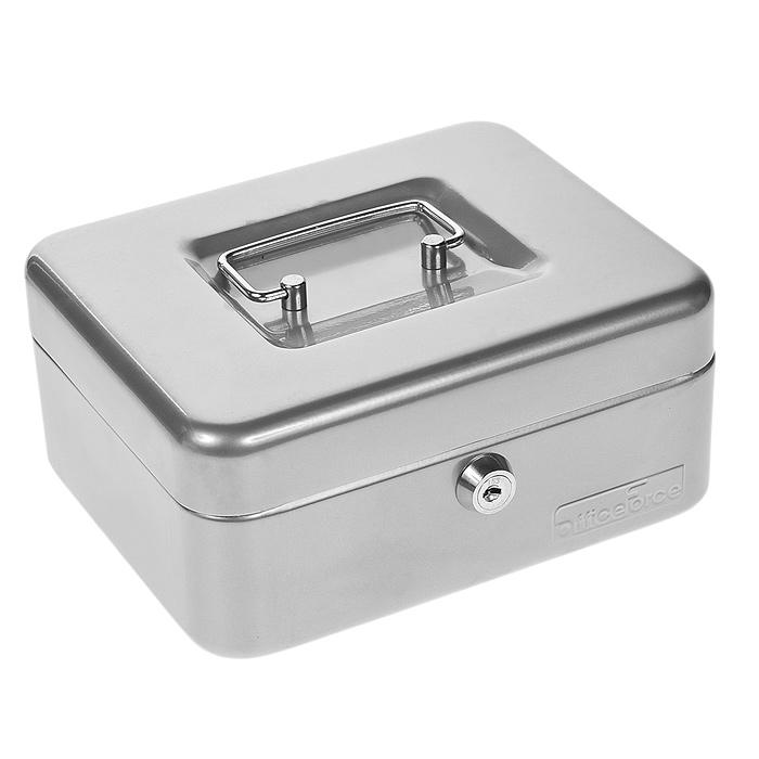 Кэшбокс Office-Force Т32, цвет: серебро, 20 см х 16 см х 9 см10032Кэшбокс Office-Force с ключевым замком предназначен для хранения денег и мелких предметов. Он представляет собой металлический контейнер с пластиковым съемным ложементом внутри, разделенным на ячейки. Контейнер покрашен порошковой эмалью в серебристый цвет. Для удобства транспортировки предусмотрена никелированная ручка. В комплект входят 2 ключа. Характеристики: Материал: металл, пластик. Размер кэшбокса: 20 см х 16 см х 9 см. Размер упаковки: 17 см х 20,5 см х 9,5 см. Изготовитель: Китай.