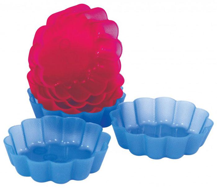 Набор форм для выпечки Regent Inox Корзиночки, цвет: красный, синий, диаметр 8 см, 6 шт93-SI-FO-09Набор Regent Inox Корзиночки состоит из 6 форм, выполненных из силикона красного и синего цвета. Формы предназначены для выпечки и заморозки. Стенки форм рельефные. Силиконовые формы для выпечки имеют много преимуществ по сравнению с традиционными металлическими формами и противнями. Они идеально подходят для использования в микроволновых, газовых и электрических печах при температурах до +230°С. В случае заморозки до -40°С. За счет высокой теплопроводности силикона изделия выпекаются заметно быстрее. Благодаря гибкости и антиприлипающим свойствам силикона, готовое изделие легко извлекается из формы. Для этого достаточно отогнуть края и вывернуть форму (выпечке дайте немного остыть, а замороженный продукт лучше вынимать сразу). Силикон абсолютно безвреден для здоровья, не впитывает запахи, не оставляет пятен, легко моется. С такой формой вы всегда сможете порадовать своих близких оригинальной выпечкой.