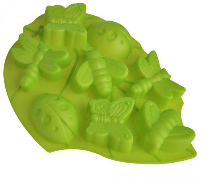 """Форма для выпечки и заморозки Regent Inox """"Лист"""", цвет: зеленый, 8 ячеек"""