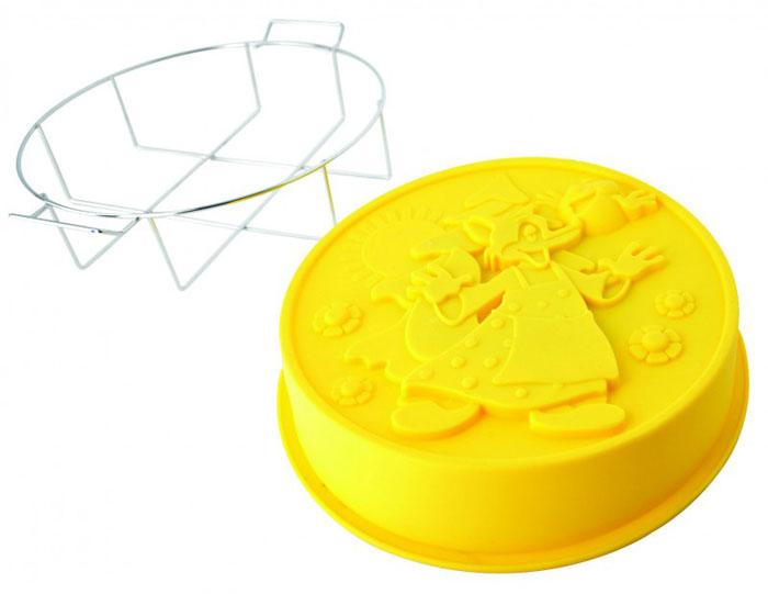 Форма для выпечки Regent Inox Колобок, силиконовая, на металлической подставке, цвет: жёлтый, диаметр 25 см93-SI-FO-106Форма для выпечки и заморозки Колобок выполнена из силикона, снабжена удобной металлической подставкой с ручками. Предназначена для изготовления выпечки, желе, морженого и т.д. С помощью формы с героями известной сказки любой день можно превратить в праздник и порадовать детей. Силиконовые формы выдерживают высокие и низкие температуры (от -40°С до +230°С). Они эластичны, износостойки, легко моются, не горят и не тлеют, не впитывают запахи, не оставляют пятен. Силикон абсолютно безвреден для здоровья. Не используйте моющие средства, содержащие абразивы. Можно мыть в посудомоечной машине. Подходит для использования во всех типах печей.