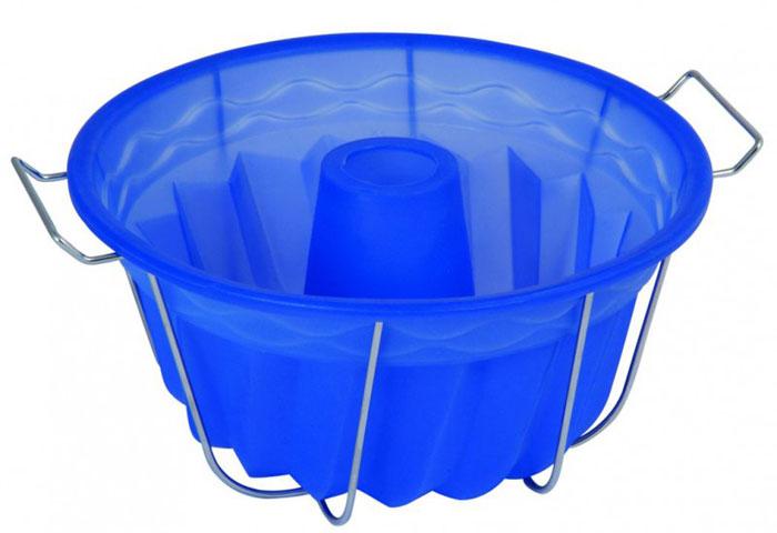 Форма для выпечки и заморозки Regent Inox Кугельхопф, силиконовая, на металлической подставке, цвет: синий, диаметр 23 см93-SI-FO-21Форма для выпечки и заморозки Кугельхопф выполнена из силикона, снабжена удобной металлической подставкой с ручками. Предназначена для изготовления выпечки, желе, морженого и т.д. Силиконовые формы выдерживают высокие и низкие температуры (от -40°С до +230°С). Они эластичны, износостойки, легко моются, не горят и не тлеют, не впитывают запахи, не оставляют пятен. Силикон абсолютно безвреден для здоровья. Не используйте моющие средства, содержащие абразивы. Можно мыть в посудомоечной машине. Подходит для использования во всех типах печей.