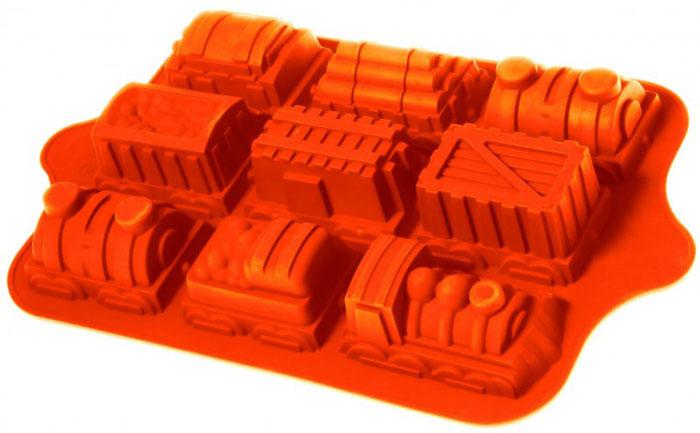 """Форма для выпечки и заморозки Regent Inox """"Паровозик"""", силиконовая, 9 ячеек, 39 см х 24 см х 4,5 см"""