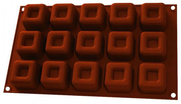 Форма для выпечки и заморозки Десерт, силиконовая, цвет: коричневый, 15 ячеек93-SI-FO-42Форма для выпечки и заморозки Десерт состоит из пятнадцати одинаковых ячеек квадратной формы. Силиконовая форма предназначена для изготовления конфет, мармелада, желе, льда, выпечки и т.д. Оригинальный способ подачи изделий не оставит равнодушным родных и друзей. Силиконовые формы Regent Inox Silicone выдерживают высокие и низкие температуры (от - 40 до + 230 градусов). Они эластичны, износостойки, легко моются, не горят и не тлеют, не впитывают запахи, не оставляют пятен. Силикон абсолютно безвреден для здоровья.