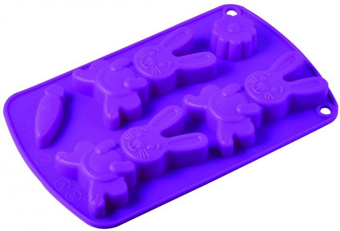 Форма для выпечки и заморозки Regent inox Зайчики, силиконовая, цвет: фиолетовый, 5 ячеек93-SI-FO-67Форма для выпечки и заморозки Зайчики состоит из пяти ячеек в виде зайчиков, морковки и цветочка. Силиконовая форма предназначена для изготовления конфет, печенья, мармелада, желе, льда, выпечки и т.д. Оригинальный способ подачи изделий не оставит равнодушным родных и друзей. Силиконовые формы Regent Inox Зайчики выдерживают высокие и низкие температуры (от - 40 до + 230 градусов). Они эластичны, износостойки, легко моются, не горят и не тлеют, не впитывают запахи, не оставляют пятен. Силикон абсолютно безвреден для здоровья.