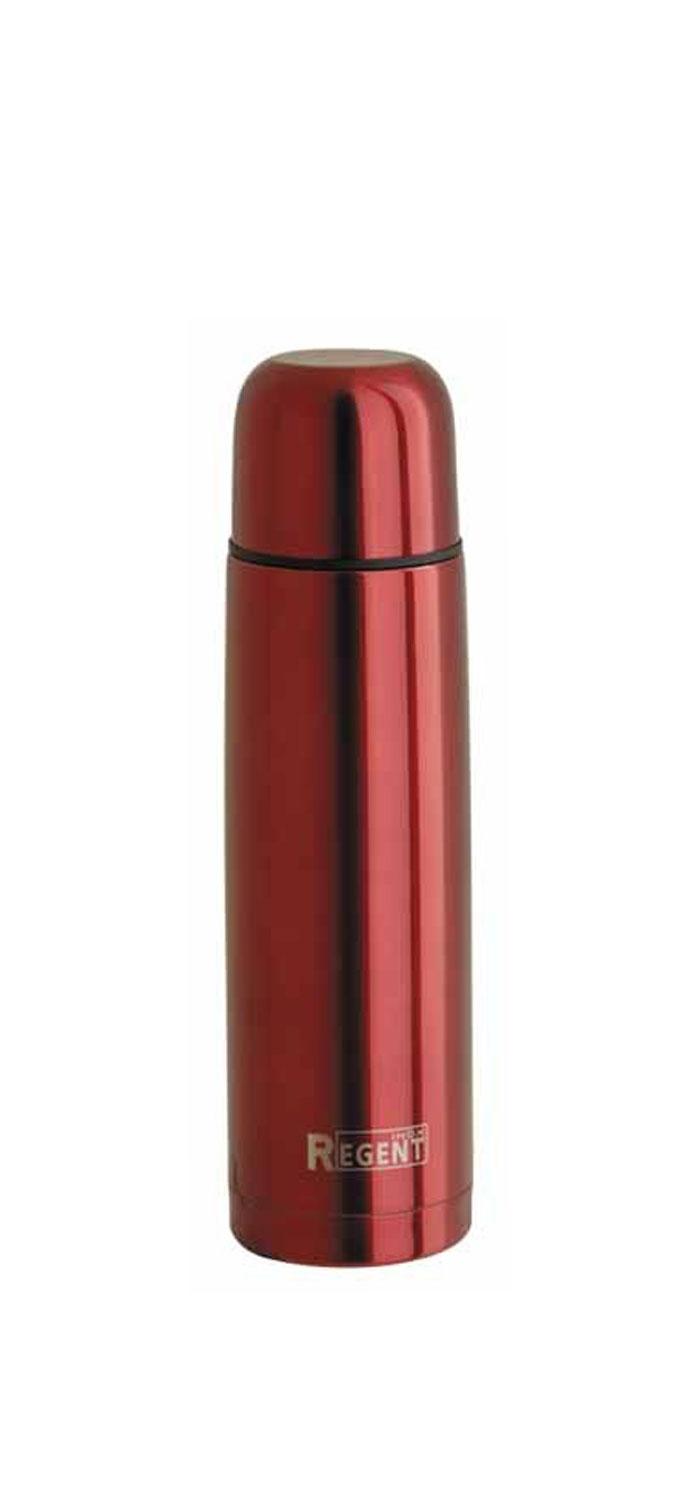 Термос Regent Inox Bullet, цвет: красный, 1 л. 93-TE-B-1-1000R93-TE-B-1-1000RТермос Regent Inox Bullet изготовлен из высококачественной пищевой нержавеющей стали с глянцевой и матовой полировкой, что обеспечивает высокую надежность и долговечность. Современная технология с вакуумной изоляцией и металлическая колба, способствуют более длительному сохранению тепла. Через 24 часа температура жидкости в термосе станет равна 48-50°С при условии, что температура окружающей среды не ниже 18°С, а температура жидкости при заполнении не ниже +99°С. Regent Inox Bullet оснащен пластиковой пробкой с удобным кнопочным механизмом - напитки можно наливать, открутив крышку и нажав на кнопку, а крышку можно использовать как чашку. Термос удобен в использовании дома, на даче, в турпоходе и на рыбалке. Пригодится на работе, в офисе и командировке, экономит электроэнергию и время. К термосу прилагается чехол из искусственной кожи.