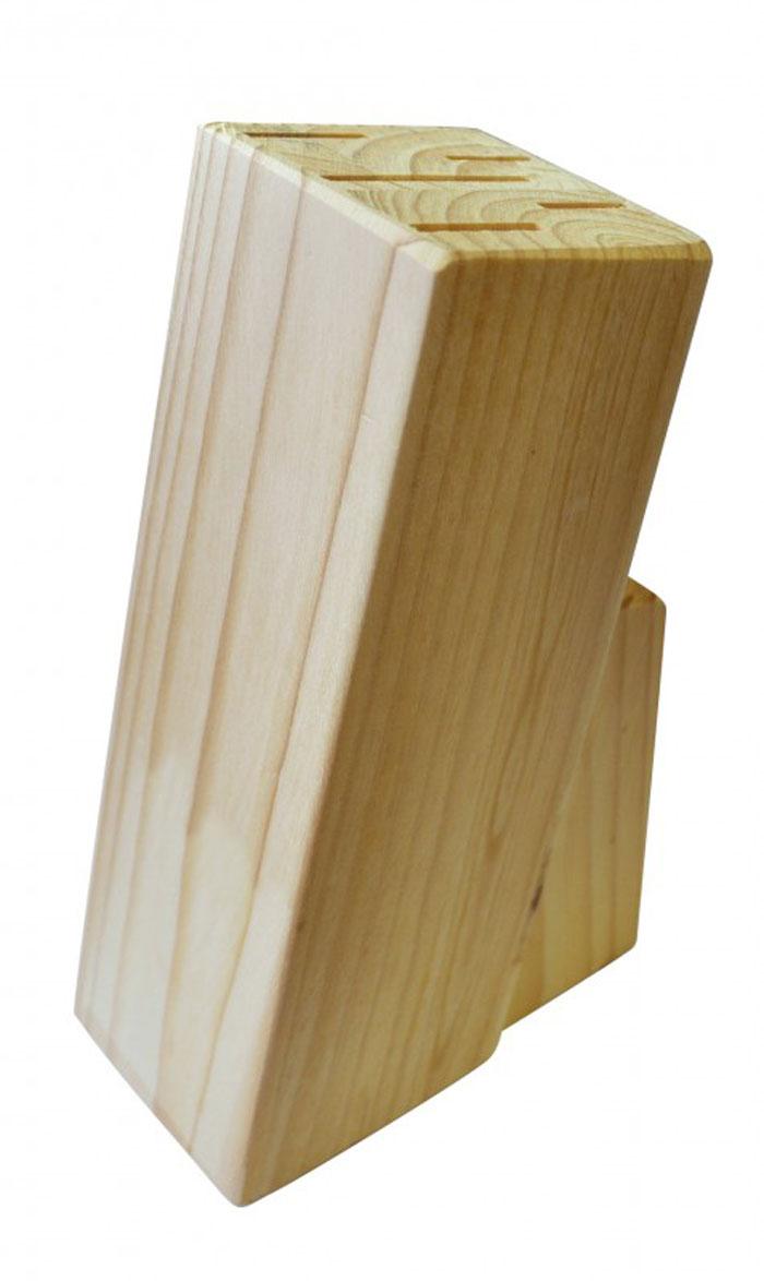 Подставка для набора ножей Block93-WB2-5SПодставка для набора ножей Linea Block выполнена из натуральной сосны. Подставка рассчитана на шесть ножей. Конструкция подставки отличается устойчивостью, на дне имеются мягкие накладки для предотвращения потертости кухонного стола. Подставка для набора ножей Linea Block - это экологически чистый и незаменимый предмет кухонного интерьера, позволяющий хранить ножи компактно и удобно.