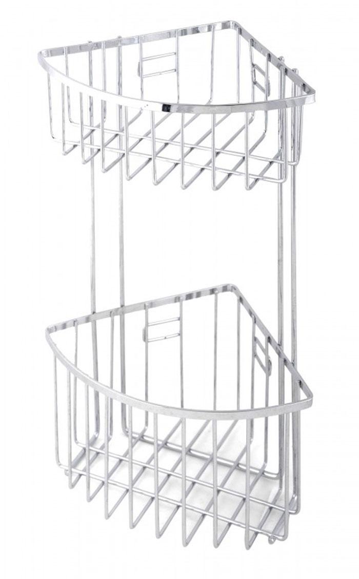 Полка угловая для ванной комнаты Regent Inox Casa, 2-х ярусная402002Удобная и практичная металлическая полочка Regent Inox Casa станет незаменимым аксессуаром в вашем хозяйстве. Ее можно установить в ванной комнате и ваши шампуни, гели для душа и различные кремы всегда будут под рукой. Благодаря компактным размерам полка впишется в интерьер вашего дома и позволит вам удобно и практично хранить предметы домашнего обихода.