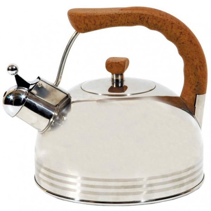 Чайник Lux со свистком, 2,5 л93-2503B.1Чайник Linea Lux выполнен из высоокачественной нержавеющей стали с комбинированным полированием. Эргономичная ненагревающаяся ручка выполнена из бакелита бежевого цвета. В чайнике Linea Lux, изготовленном из экологически чистого материала, сохраняются все полезные свойства и микроэлементы воды. Оптимальное соотношение толщины дна и стенок посуды обеспечивает равномерное распределение тепла, экономит энергию, делает посуду устойчивой к деформации. Многослойное капсулированное дно аккумулирует тепло, способствует быстрому закипанию даже при небольшой мощности конфорок. Носик чайника имеет откидной свисток, звуковой сигнал которого подскажет, когда закипит вода. Чайник Linea Lux подходит для всех видов кухонных плит, включая индукционные. Можно мыть в посудомоечной машине. Чайник Linea Lux функционален, гигиеничен и эргономичен, а благодаря оригинальному дизайну он станет украшением любой кухни.