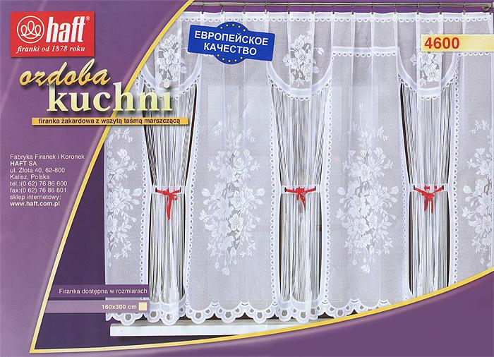 Гардина Haft, на ленте, цвет: белый, высота 160 см. 424413424413Воздушная гардина Haft, изготовленная из полиэстера белого цвета, станет великолепным украшением любого окна. Гардина украшена оригинальным цветочным принтом, а также эффектной отделкой тонкими продольными полосками, оформленными подхватами из красной атласной ткани. Такое сочетание, несомненно, привлечет к себе внимание и органично впишется в интерьер комнаты. В гардину вшита шторная лента.