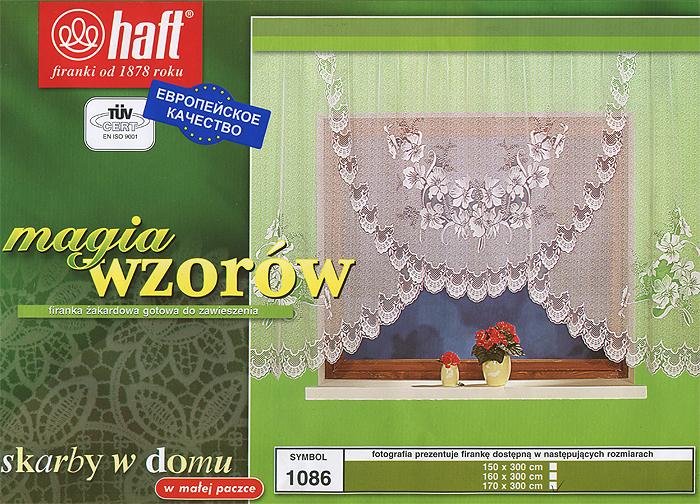 Гардина Haft, на ленте, цвет: белый, высота 170 см. 297260297260Воздушная гардина Haft, изготовленная из полиэстера белого цвета, станет великолепным украшением любого окна. Оригинальный цветочный рисунок и нежный орнамент привлечет к себе внимание и органично впишется в интерьер комнаты. В гардину вшита шторная лента.