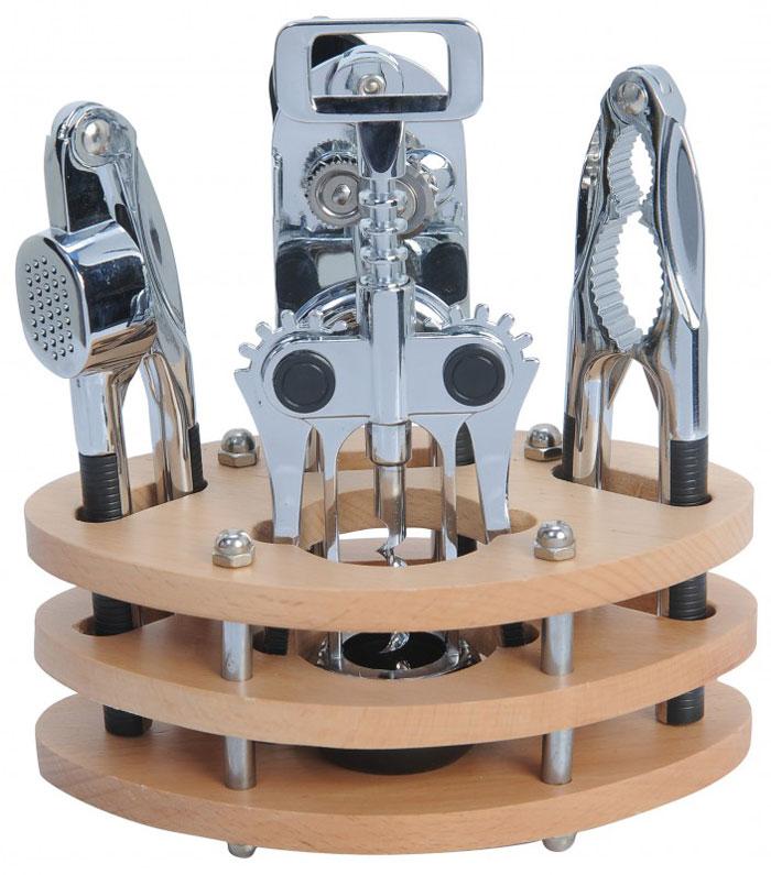 Набор кухонных принадлежностей Regent Inox Cucina, 5 предметов. 93-CN-01-S193-CN-01-S1Набор кухонных принадлежностей Regent Inox послужит прекрасным дополнением к оборудованию современной или традиционной кухни. Набор состоит из консервного ножа, пресса для чеснока, орехокола, штопора и деревянной подставки, на которой располагаются предметы набора. Все предметы имеют современный дизайн, изготовлены из нержавеющей стали, а их ручки с прорезиненными вставками удобны и прочны.