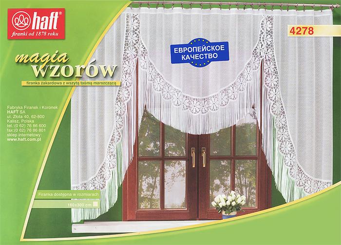 Гардина Haft, на ленте, цвет: белый, высота 160 см. 124217124217Воздушная гардина Haft, изготовленная из полиэстера белого цвета, станет великолепным украшением любого окна. Гардина украшена нежным орнаментом, а также эффектной бахромой по нижнему краю. Такое сочетание, несомненно, привлечет к себе внимание и органично впишется в интерьер комнаты. В гардину вшита шторная лента. Характеристики: Материал: 100% полиэстер. Размер упаковки: 37 см х 28 см х 3 см. Цвет: белый. Артикул: 124217. В комплект входит: Гардина - 1 шт. Размер (Ш х В): 300 см х 160 см. Текстильная компания Haft имеет богатую историю. Основанная в 1878 году в Польше, эта фирма зарекомендовала себя в качестве одного из лидеров текстильной промышленности в Европе. Еще в начале XX века фабрика Haft производила 90% всех текстильных изделий в своей стране, с годами производство расширялось, накопленный опыт позволял наиболее выгодно использовать развивающиеся технологии. Главный ассортимент компании - это тюль и...