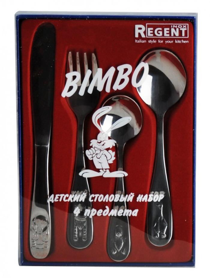 Набор детский столовый Regent Inox Bimbo, 4 предмета93-CU-BIM-24.9Набор Regent Inox Bimbo, изготовленный из высококачественной нержавеющей стали, предназначен для детей. Набор состоит из столовой ложки, вилки, ножа и чайной ложки. Ручки оформлены фигурной штамповкой в виде забаных зверят. Такой набор непременно поравится Вашему ребёнку, а приём пищи станет для него увлекательным занятием.