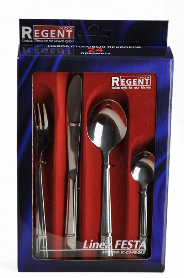 Набор столовых приборов Regent Inox Festa, 24 предмета93-CU-FE-24.2Роскошный набор столовых приборов Regent Inox Festa состоит из 6 ножей, 6 ложек, 6 вилок и 6 чайных ложек. Предметы набора выполнены из высококачественной нержавеющей стали. Ручки всех приборов оформлены глянцевой полировкой, что придает им строгость и изысканность Столовые приборы Regent Inox Festa прекрасно подходят для сервировки стола, как в домашнем быту, так и в профессиональных заведениях - кафе, ресторанах. Предметы набора соответствуют всем гигиеническим требованиям, не окисляются, отличаются высокой прочностью. Эффектный дизайн, высокое качество изготовления и многофункциональность в использовании позволяют выделить набор столовых приборов Regent Inox Festa из ряда подобных.