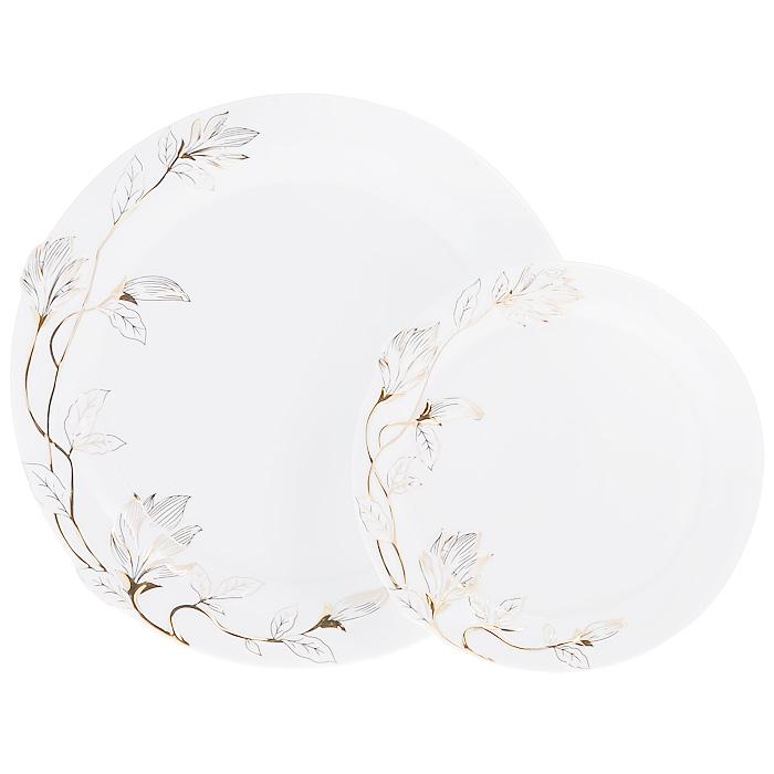 Набор блюд Золотая ветка, цвет: белый, 2 шт595-012Набор Золотая ветка, выполненный из высококачественного фарфора белого цвета, состоит из двух блюд разного размера. Блюда декорированы рельефной веткой, покрытой эмалью золотистого цвета. Набор сочетает в себе изысканный дизайн с максимальной функциональностью. Красочность оформления придется по вкусу и ценителям классики, и тем, кто предпочитает утонченность и изысканность. Набор блюд Золотая ветка идеально подойдет для сервировки стола и станет отличным подарком к любому празднику.
