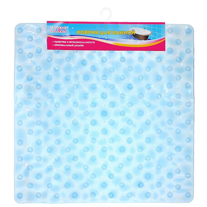 Коврик для ванной Loks, цвет: прозрачный синий, 54 см х 54 см. M500-116