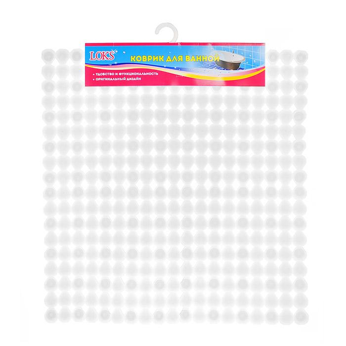 Коврик для ванной Loks, цвет: прозрачный белый, 54 см х 54 см. M500-105M500-105 - прозрачный белыйКоврик для ванной Loks обеспечивает безопасность во время купания: на изделие нанесен специальный рельеф, который убережет от риска поскользнуться и получить травму. Коврик изготовлен из особого материала, обладающего высокой износоустойчивостью и подходит для любых ванн и душевых кабин. Не имея запаха, винил эластичен, мягко прилегает к поверхности и может принять практически любую форму. При этом коврик очень плотно крепится ко дну множеством присосок, расположенных по всей изнаночной стороне. Отверстия, предназначенные для пропуска воды, способствуют лучшему сцеплению с поверхностью, таким образом, полностью исключая скольжение. Дизайн ковриков разработан специально с учетом универсальности и представляет собой разноцветную коллекцию нежных оттенков, которые можно подобрать под цвет любой ванной комнаты. Характеристики: Размер коврика: 54 см х 54 см. Материал: 100% ПВХ. Цвет: прозрачный белый. Артикул: M500-105. Размер упаковки: ...