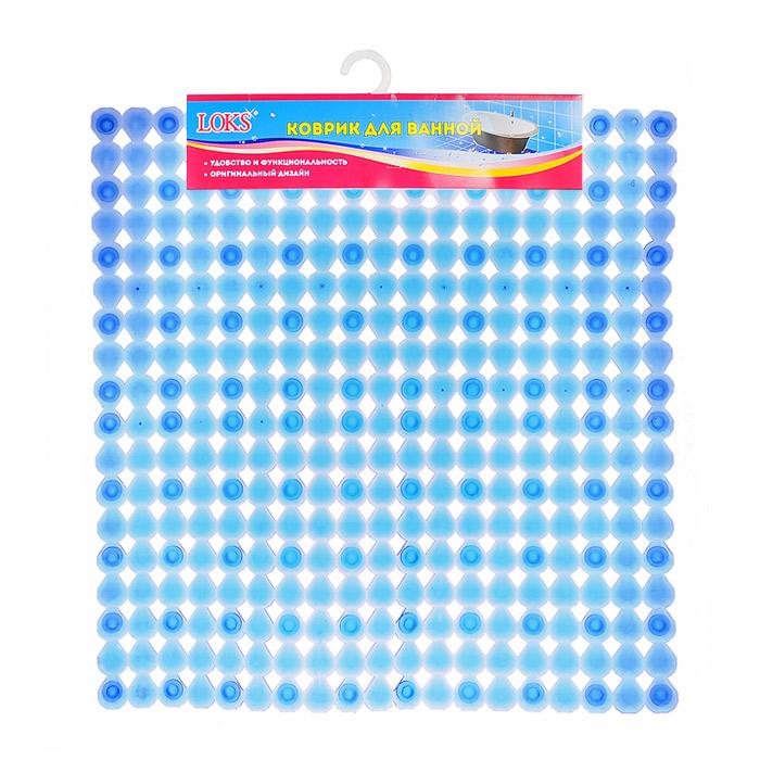 Коврик для ванной Loks, цвет: прозрачный синий, 54 см х 54 см. M500-105