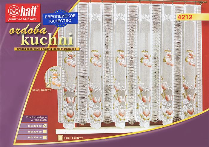 Гардина Haft, на ленте, цвет: белый, высота 150 см. 425199425199Воздушная гардина Haft, изготовленная из полиэстера белого цвета, станет великолепным украшением любого окна. Оригинальный цветочный рисунок привлечет к себе внимание и органично впишется в интерьер комнаты. В гардину вшита шторная лента. Характеристики: Материал: 100% полиэстер. Размер упаковки: 37 см х 28 см х 3 см. Цвет: белый. Артикул: 425199. В комплект входит: Гардина - 1 шт. Размер (Ш х В): 300 см х 150 см. Текстильная компания Haft имеет богатую историю. Основанная в 1878 году в Польше, эта фирма зарекомендовала себя в качестве одного из лидеров текстильной промышленности в Европе. Еще в начале XX века фабрика Haft производила 90% всех текстильных изделий в своей стране, с годами производство расширялось, накопленный опыт позволял наиболее выгодно использовать развивающиеся технологии. Главный ассортимент компании - это тюль и занавески. Haft предлагает готовые решения для ваших окон, выпуская готовые наборы...