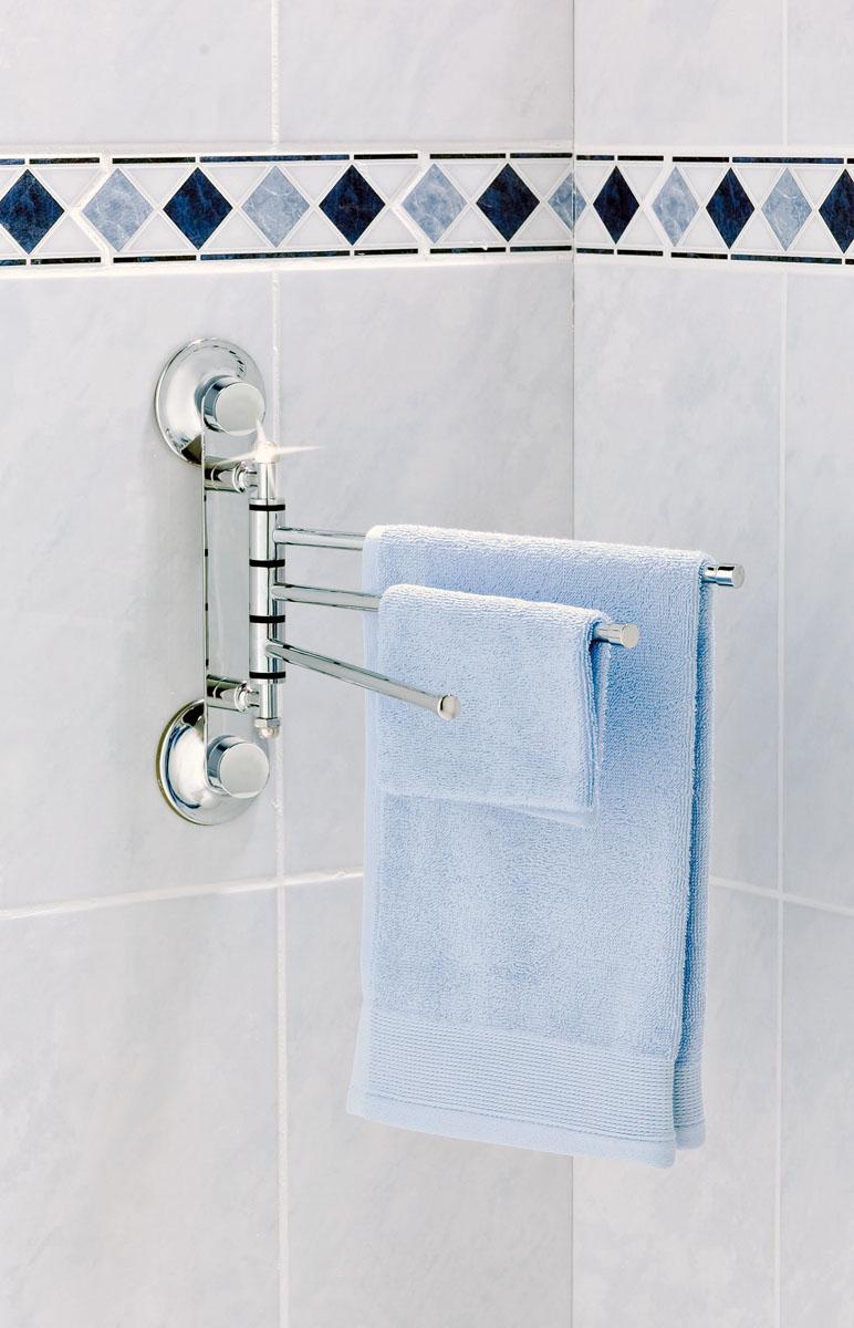 Вешалка для полотенец настенная Tatkraft Swiss Line с 3-мя подвижными планками, 30 x 5 x 21,5 см10240-TKВешалка для полотенец Tatkraft Swiss Line изготовлена из хромированной стали. Она крепится к поверхности стены с помощью двух присосок. Вешалка состоит из трех подвижных планок. Ее можно использовать как на кухне, так и в ванной комнате.