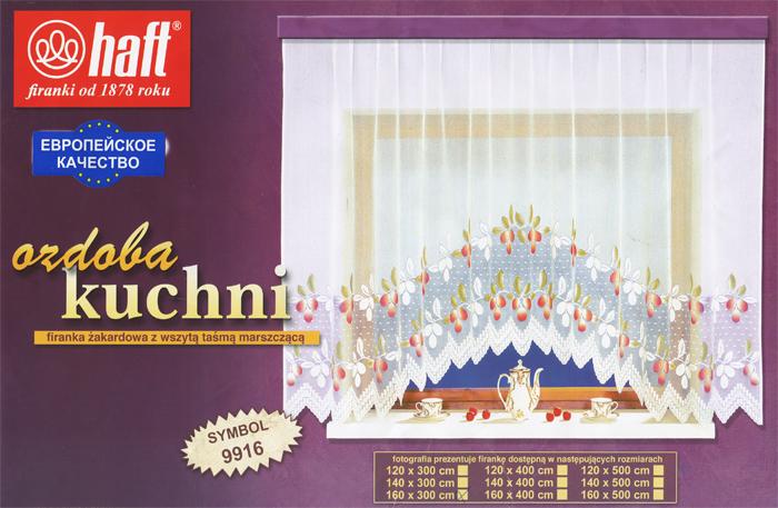 Гардина Haft, на ленте, цвет: белый, высота 160 см. 233589233589Воздушная гардина Haft, изготовленная из полиэстера белого цвета, станет великолепным украшением любого окна. Оригинальный рисунок и нежный орнамент привлечет к себе внимание и органично впишется в интерьер комнаты. В гардину вшита шторная лента.