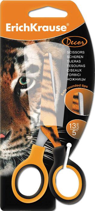Ножницы канцелярские Erich Krause Тигр, 13 смEK14599Ножницы Erich Krause Тигр идеально подойдут для использования в офисе и дома. Безопасные закругленные лезвия выполнены из высококачественной нержавеющей стали. На режущее полотно нанесен яркий рисунок в виде тигрового окраса. Прочные пластиковые ручки гарантируют комфорт и надежность во время работы. Характеристики: Материал: пластик, нержавеющая сталь. Длина ножниц: 13 см. Размер упаковки: 8 см х 18 см х 1 см. Изготовитель: Китай.