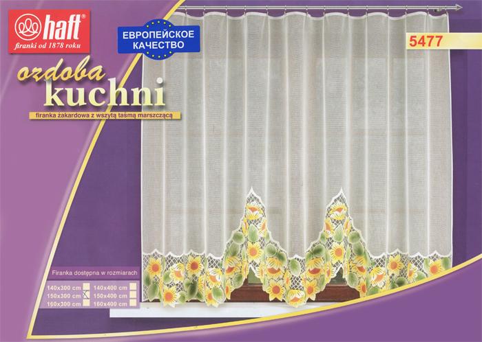 Гардина Haft, на ленте, цвет: кремовый, высота 150 см. 489375489375Воздушная гардина Haft, изготовленная из полиэстера кремового цвета, станет великолепным украшением любого окна. Оригинальный цветочный рисунок, украшающий нижний край гардины, и нежная ажурная фактура материала привлекут к себе внимание и органично впишутся в интерьер комнаты. В гардину вшита шторная лента.