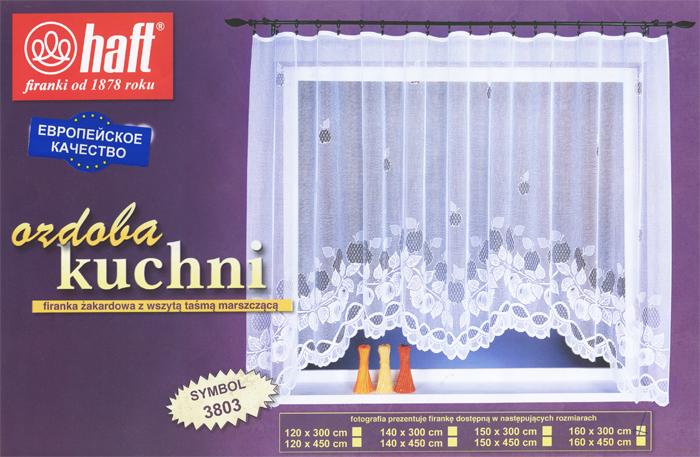 Гардина Haft, на ленте, цвет: белый, высота 160 см. 388104388104Воздушная гардина Haft, изготовленная из полиэстера белого цвета, станет великолепным украшением любого окна. Оригинальный рисунок и нежный орнамент привлечет к себе внимание и органично впишется в интерьер комнаты. В гардину вшита шторная лента.