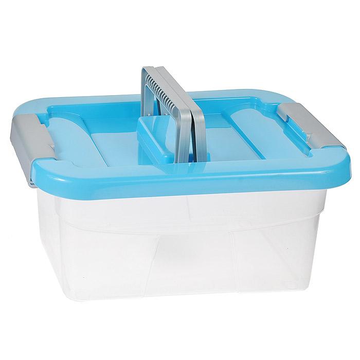 Контейнер хозяйственный Gensini, цвет: прозрачный, голубой, 5 л2164Хозяйственный контейнер Gensini, выполненный из пластика, предназначен для надежного хранения вещей. Крышка контейнера закрывается по бокам на две защелки, которые предотвращают случайное открывание. Также на крышке имеются две складные ручки для удобной переноски. Размер: 29 х 19,5 х 13,5 см.