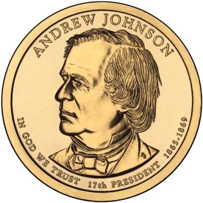 Монета номиналом 1 доллар Президенты. Эндрю Джонсон. США, 2011 годL2070 EДиаметр 26,5 мм. Вес: 8,1 гр. Материал: Медь с марганцево-латунным покрытием.