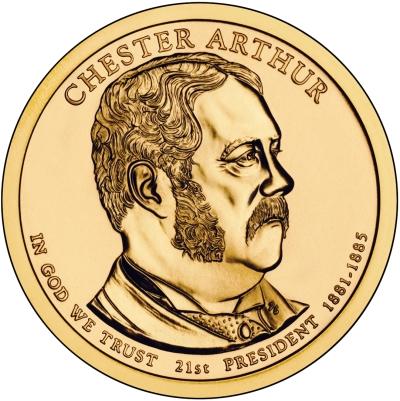 Монета номиналом 1 доллар Президенты. Честер Артур. США, 2012 годL2070 EДиаметр 26,5 мм. Вес: 8,1 гр. Материал: Медь с марганцево-латунным покрытием.
