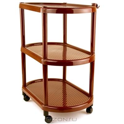 Этажерка овальная Полимербыт, на колесиках, цвет: коричневый, 3 полкиC945Овальная этажерка Полимербыт с 3 полками выполнена из пластика и предназначена для хранения различных предметов на кухне, в ванной или прихожей. На кухне в ней можно хранить овощи и фрукты, в ванной - различные ванные принадлежности, в прихожей - обуви и аксессуары. Для удобства перемещения этажерка оснащена колесиками. Очень удобная и компактная, но в тоже время вместительная, она прекрасно впишется в пространство любого помещения. Этажерка придется особенно кстати, если у вас небольшая ванная или кухня: она займет минимум пространства. Легко собирается и разбирается.