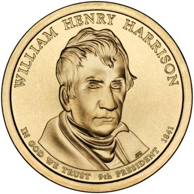 Монета номиналом 1 доллар Президенты. Вильям Генри Гаррисон. США, 2009 год131004Диаметр 26,5 мм. Вес: 8,1 гр. Материал: Медь с марганцево-латунным покрытием.
