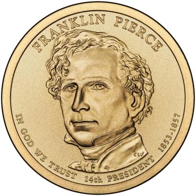 Монета номиналом 1 доллар Президенты. Франклин Пирс. США, 2010 год131004Диаметр 26,5 мм. Вес: 8,1 гр. Материал: Медь с марганцево-латунным покрытием.