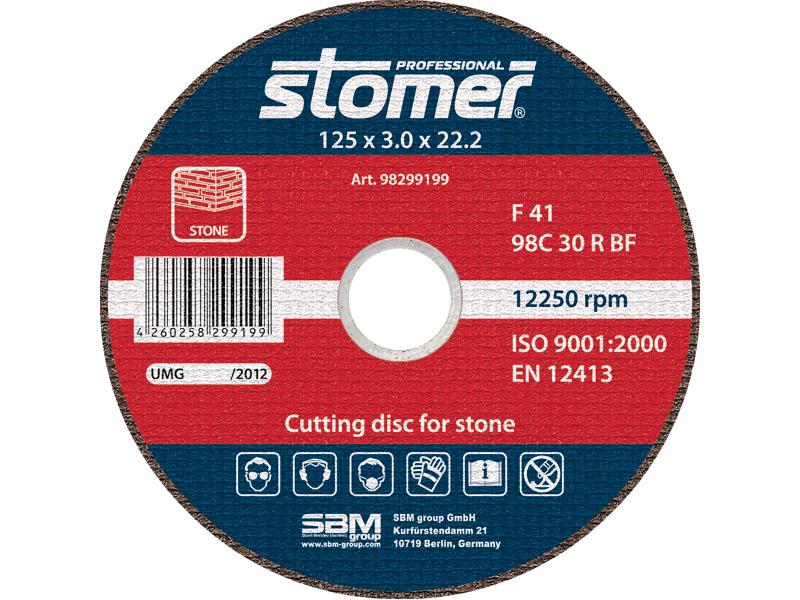 Диск отрезной Stomer, 125 мм, CS-125. 9829919998299199Отрезной диск Stomer является сменным элементом угловых шлифмашин. Благодаря сочетанию абразивного материала, типу связи и твердости, данные диски идеально подходят для обработки камня, бетона, кирпича и других строительных материалов.
