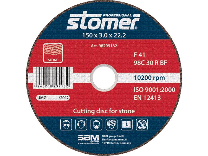 Диск отрезной Stomer, 150 мм, CS-150. 9829918298299182Отрезной диск Stomer является сменным элементом угловых шлифмашин. Благодаря сочетанию абразивного материала, типу связи и твердости, данные диски идеально подходят для обработки камня, бетона, кирпича и других строительных материалов.