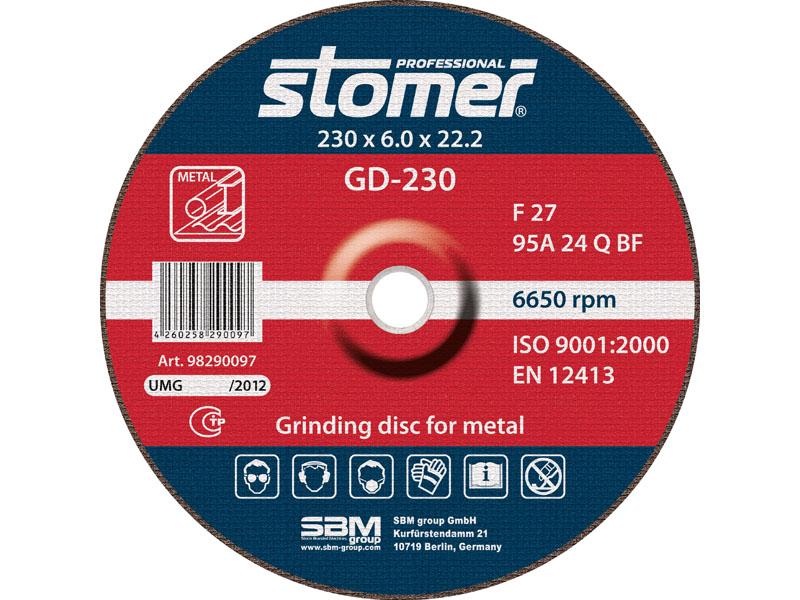 Диск шлифовальный Stomer, 230 мм, GD-230. 9829009798290097Шлифовальные диски Stomer являются наиболее универсальными для широкого спектра применения (углеродистая и быстрорежущая стали, сплавы, кованое железо и т.п.)