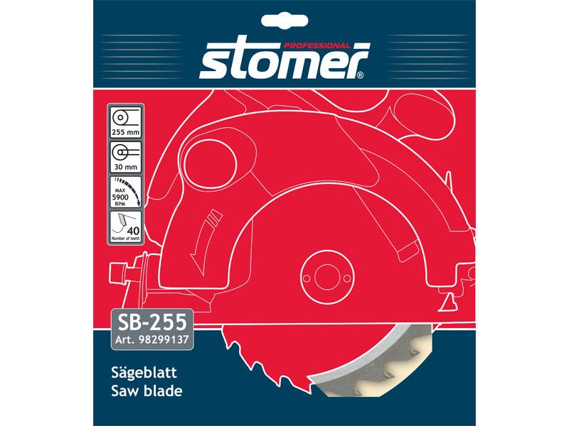 Диск пильный Stomer SB-255 для циркулярной пилы98299137Диск пильный Stomer SB-255 хорошо подходит для быстрого, но довольно грубого распила мягкой или тведрой древисины, древесных заготовок, пресованной и волокнистой древисины, столярных плит.