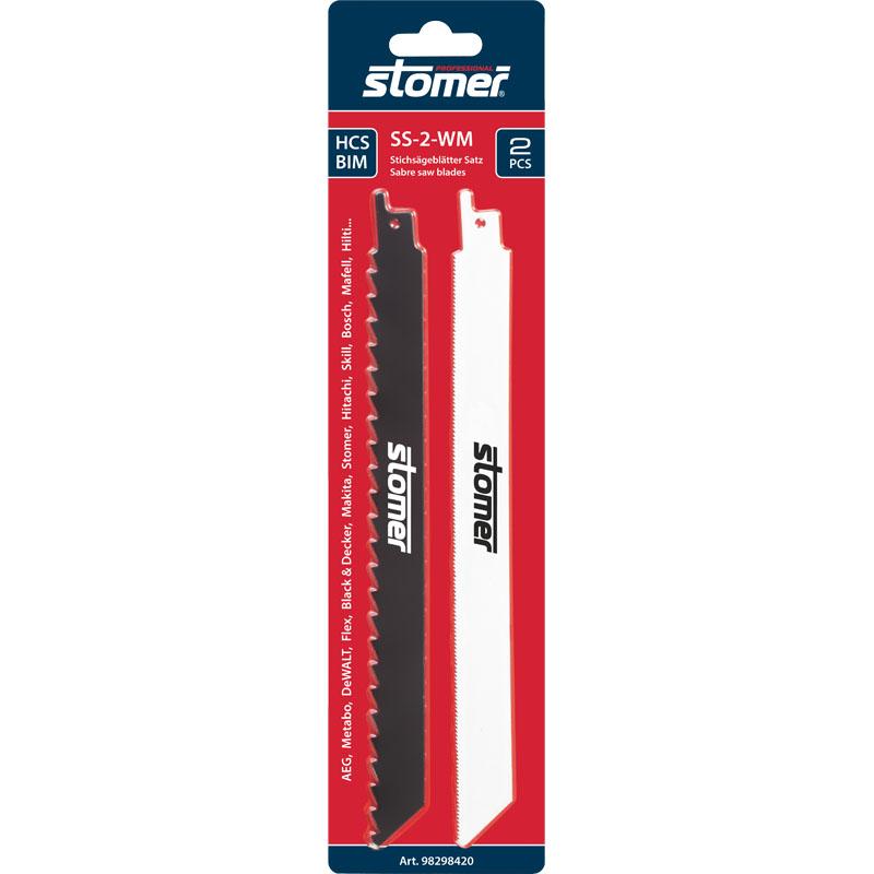 Набор пильных полотен для сабельной пилы Stomer SS-2-WM, 2 шт98298420Набор пильных полотен для сабельной пилы Stomer предназначен для распила древесины и металла. Одно полотно для прямого быстрого и грубого пропила во всех типах древесины, ДСП, а другое для прямого пропила в твердых металлах (металле, алюминии 3-6 мм).